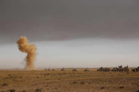 Iraqi Army and Hashd Al-Shaabi militias arrive at Saleh Village after retaking of Khalid, Saleh and Zanawer Villages of Qayyarah Town from Daesh terrorists on October 20, 2016. The operation to retake Iraq's Mosul from Daesh terrorists continues. [Hemn Baban/Anadolu Agency]