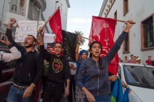 Moroccan people stage a protest in front of Internal Ministry in Rabat, Morocco, after a fisherman Mohcine Fikri, was crushed to death in a garbage truck [Jalal Morchidi / Anadolu Agency]
