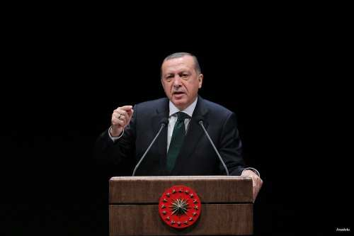 Turkish President Erdogan delivers a speech during a ceremony at Bestepe National Congress And Culture Centre in Ankara on October 18, 2016. [Raşit Aydoğan/Anadolu]