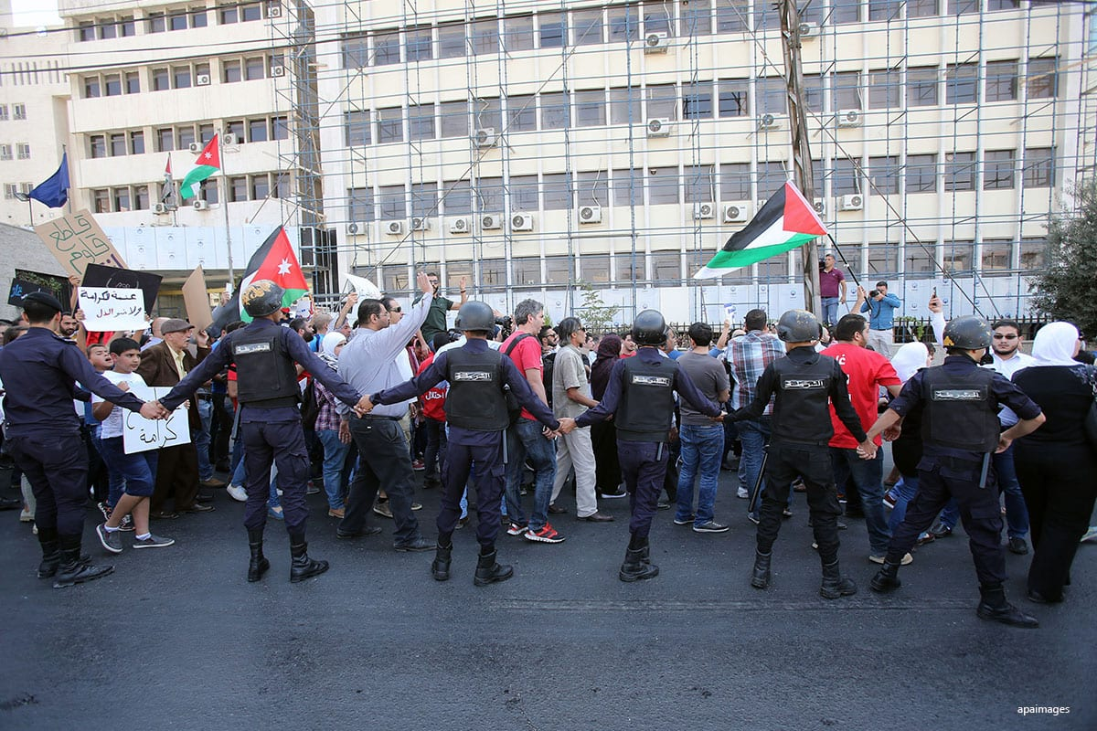Jordanian protests against Israel in Jordan on 21st October 2016 [Apaimages]