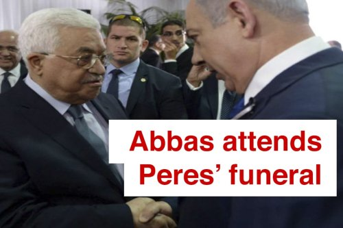 Palestinian President Mahmoud Abbas attends funeral of Shimon Peres