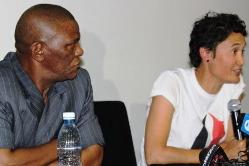 South Africa's Ambassador to Israel Sisa Ngombane (L) at a press conference with Leigh-Ann Naidoo of the Women's Boat to Gaza