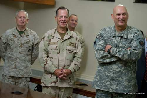 U.S. Marine Corps Gen. Gen. James Mattis, commander of U.S. Central Command; Chairman of the Joint Chiefs of Staff Navy Adm. Mike Mullen; and Army Gen. Raymond T. Odierno, commander of U.S. Forces [MC1 Chad J. McNeeley/Wikipedia]