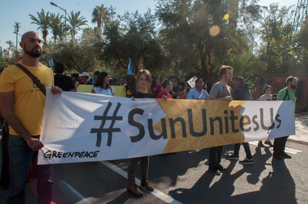 MARRAKECH, MOROCCO - NOVEMBER 13: Moroccan and international activists hold banners as they attend a demonstration against climate change and calling for environmental action during a protest in Marrakesh on the sidelines of the COP22 climate conference on November 13, 2016 ( Jalal Morchidi - Anadolu Agency )