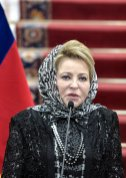 TEHRAN, IRAN - NOVEMBER 13: Russian Chairman of the Federation Council Valentina Matviyenko and Chairman of the Parliament of Iran, Ali Larijani (not seen) hold a joint press conference at the Parliament building in Tehran, Iran on November 13, 2016. ( Fatemeh Bahrami - Anadolu Agency )