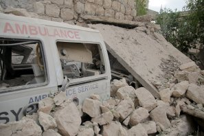 Damaged ambulances are seen after an airstrike targeted a medical center in Binnis district of Idlib, Syria on 13 October 2016. [Firas Faham - Anadolu Agency]