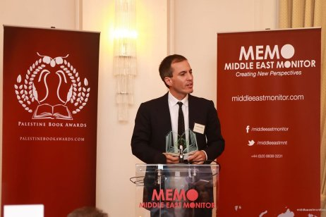 Author of 'Imperial Perceptions of Palestine', Lorenzo Kamel, delivers his acceptance speech at the Palestine Book Awards 2016 [Middle East Monitor]