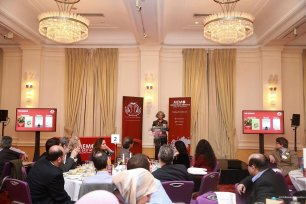 Chair of Judges, Iraqi novelist Haifa Zangana, addresses the audience at the Palestine Book Awards 2016 [Middle East Monitor]