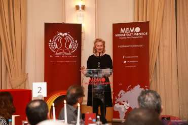 Victoria Brittain, a trustee of the Palestine Book Awards, addresses the audience at the 2016 Awards Ceremony
