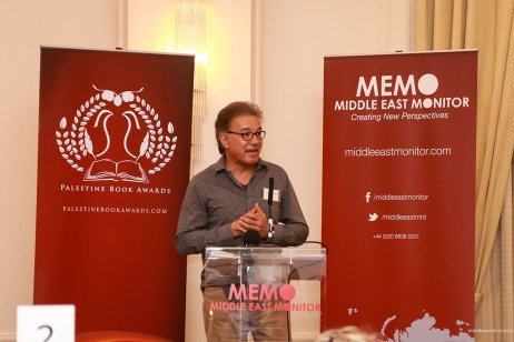 South African Professor, Dr Salim Vally, delivers his keynote address at the Palestine Book Awards 2016 [Middle East Monitor]