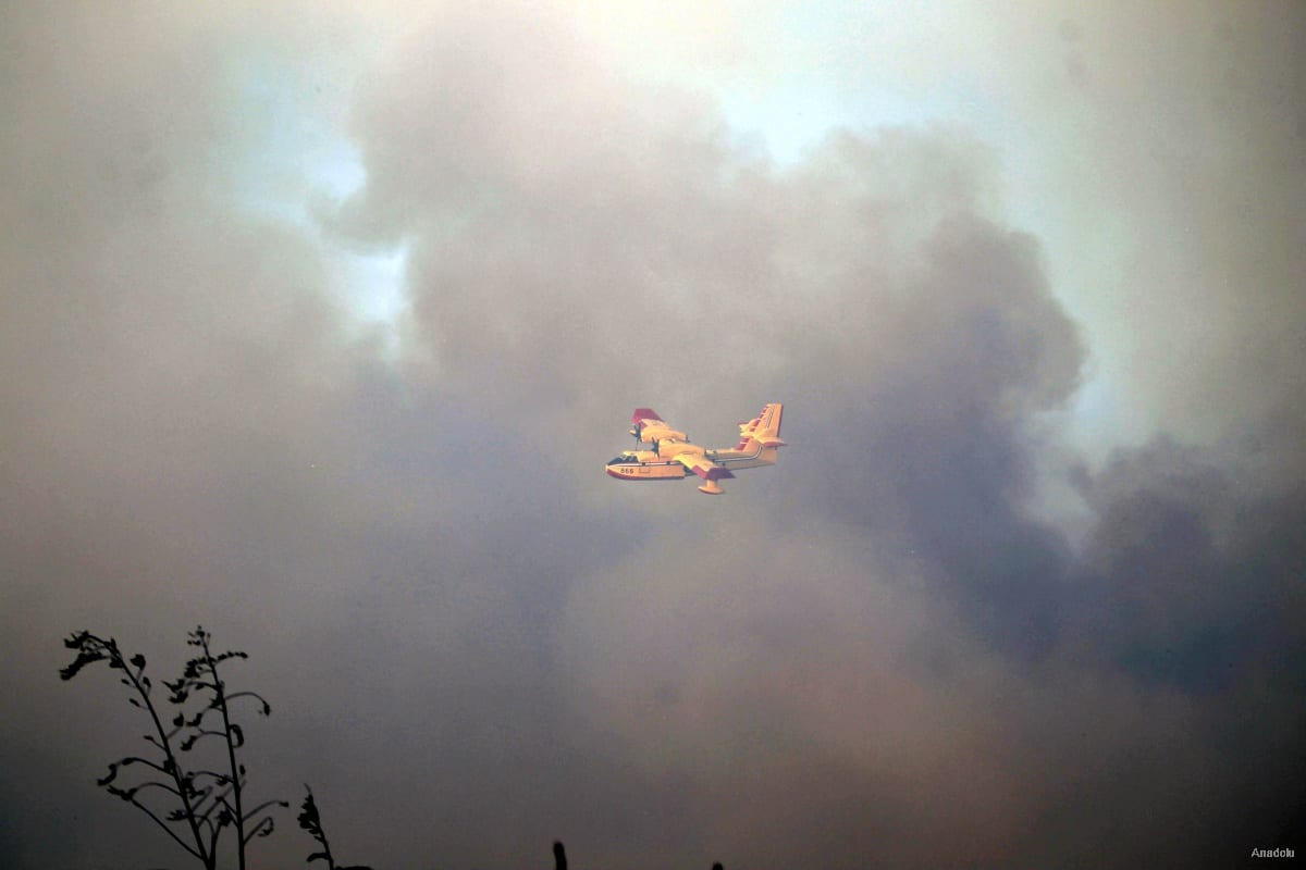 Israeli firefighter plane tries to extinguish a fire in a forest that has erupted in Israel on November 24 2016 [Muammar Awad / Anadolu Agency]