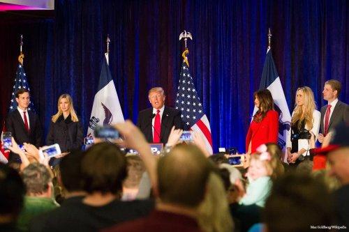 Image of the Trump family; Jared Kushner (FL), Ivanka Trump (L), Donald Trump (C), Melania Trump (R), Tiffany Trump (FR), Eric Trump (FR) [Max Goldberg/Wikipedia])