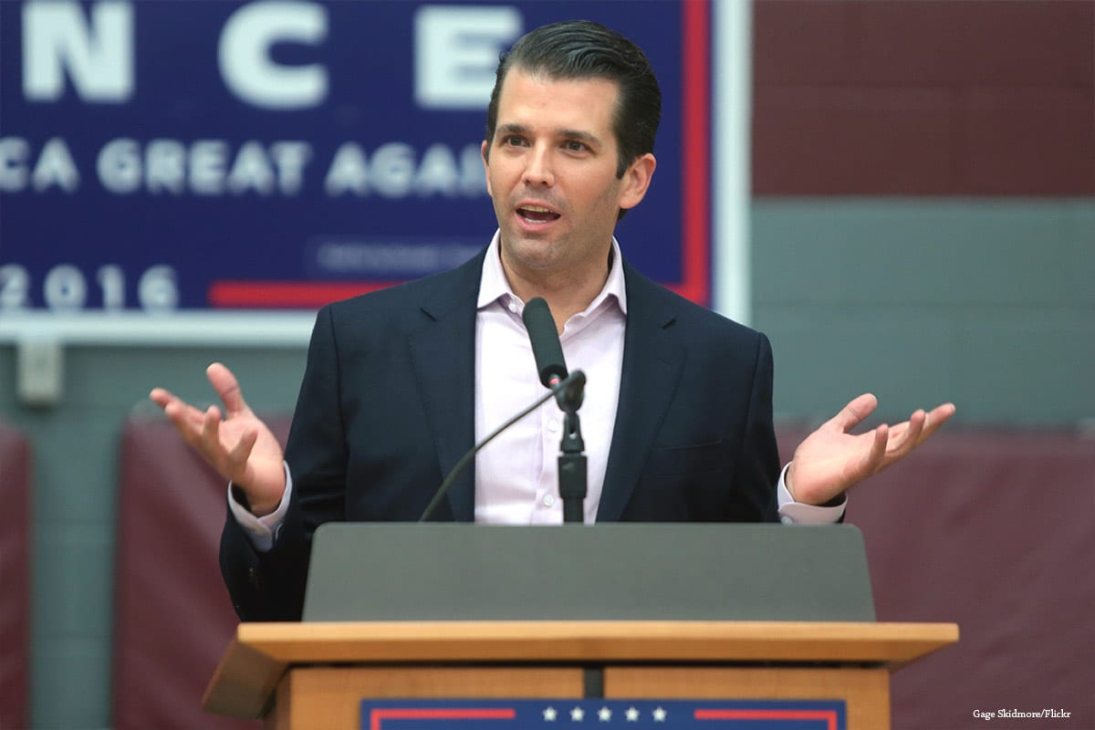 Donald Trump, Jr. speaking with supporters of his father in US om 27th October 2016 [Gage Skidmore/Flickr]