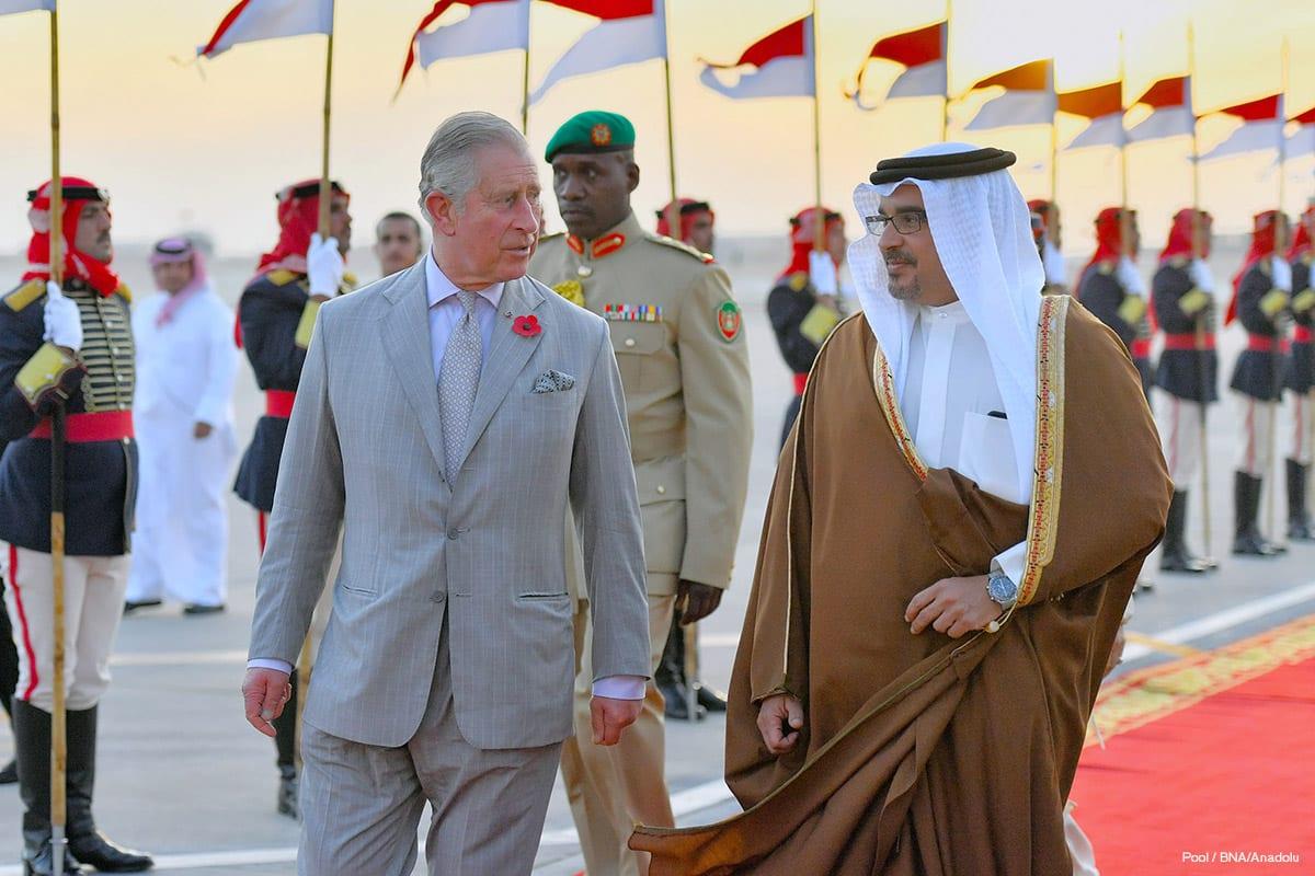 Prince of Wales, Prince Charles (L) is welcomed by Crown Prince of Bahrain Salman bin Hamad bin Isa Al Khalifa (R) on November 8 2016.