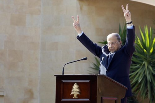 BEIRUT, LEBANON: 13th President of Lebanon Michel Aoun delivers a speech as people take part in a celebration to celebrate his appointment at Baabda Palace in Beirut, Lebanon on 6 November 2016. [Ratib Al Safadi/Anadolu Agency]