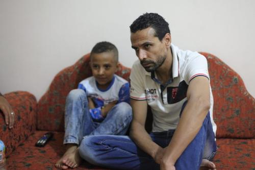 Eyad Yusef went blind a little over a year after entering Gaza, a condition doctors believe was caused by stress.