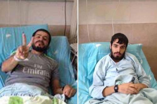 Hunger strikers Anas Shadid (right) and Ahmad Abu Farah (left) [Twitter/Nasar Ijas]