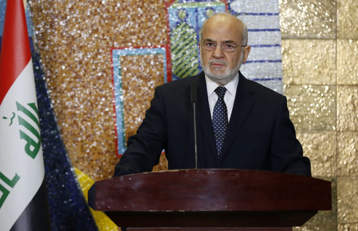 BAGHDAD, IRAQ : Iraqi Foreign Minister Ibrahim Al-Jaafari and Foreign Minister of Kuwait, Sabah Al-Khalid Al-Sabah (not seen) hold a press conference after signing an agreement on border gates, security and aviation cooperation in Baghdad, Iraq on 28 December 2016. [Murtadha Sudani /Anadolu Agency]
