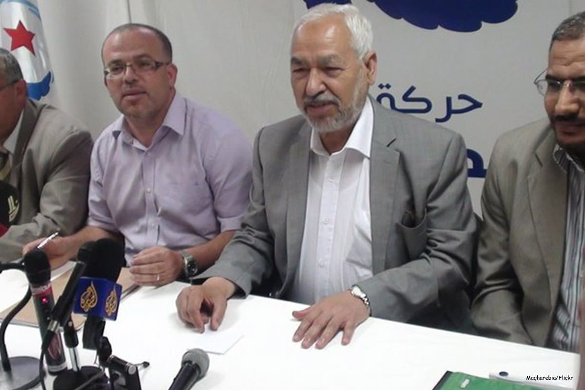 Sheikh Rachid Ghannouchi (C) during an Ennahda party conference [Magharebia/Flickr]
