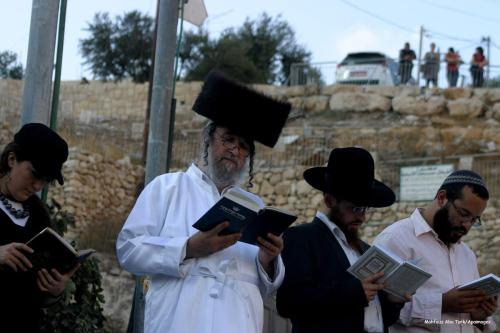 Jews gather to read prayers and perform Tashlich, a symbolic gesture of removing past sins [Mahfouz Abu Turk/Apaimages]