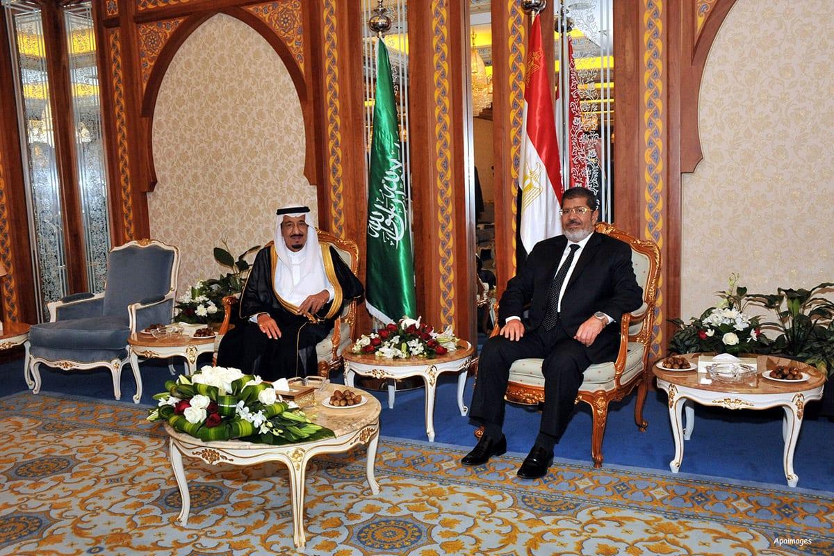 Image of Mohamed Morsi (R) and Saudi Arabia Crown Prince Salman bin Abdul-Aziz Al Saud (L) in Jeddah, Saudi Arabia on 11th July 2012 [Apaimages]
