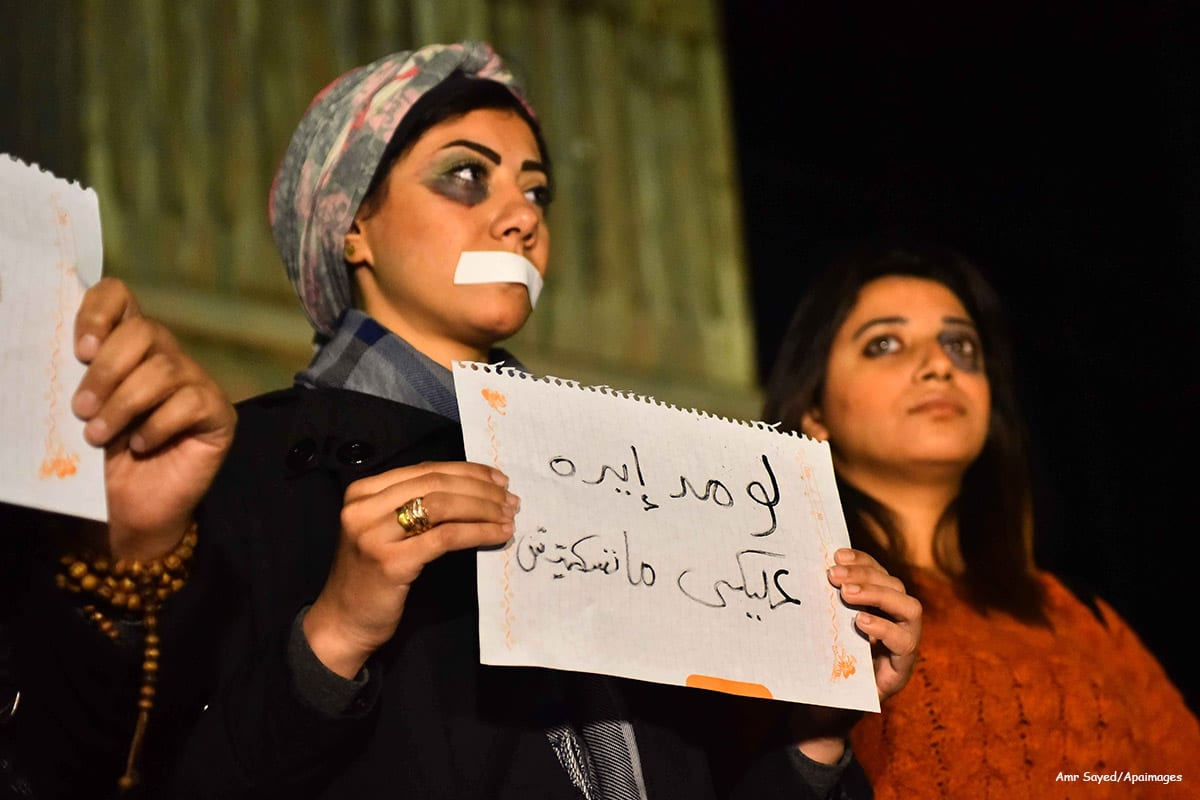 Egyptian women hold placards during a demonstration protesting violence against women in Egypt on 22nd December 2015 [Amr Sayed/Apaimages]