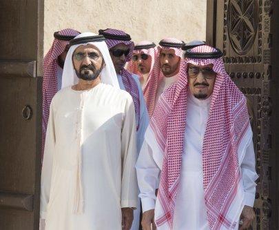 King of Saudi Arabia Salman bin Abdulaziz (R) visits Sheikh Saeed Al Maktoum House with Vice President of the United Arab Emirates Mohammed bin Rashid Al Maktoum (R) in Dubai, United Arab Emirates on December 5, 2016. [Bandar Algaloud/ Saudi Kingdom/ Handout]