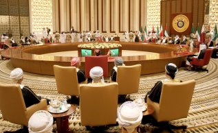 MANAMA, BAHRAIN - DECEMBER 6: Gulf Cooperation Council member states attend the 37th Leaders Summit at Al-Sakhir Palace in Manama, Bahrain on December 6, 2016. ( Stringer - Anadolu Agency )