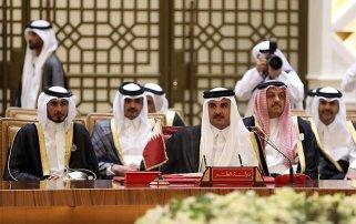 MANAMA, BAHRAIN - DECEMBER 6: Emir of Qatar, Sheikh Tamim bin Hamad Al Thani attends the 37th Leaders Summit by Gulf Cooperation Council member states at Al-Sakhir Palace in Manama, Bahrain on December 6, 2016. ( Stringer - Anadolu Agency )
