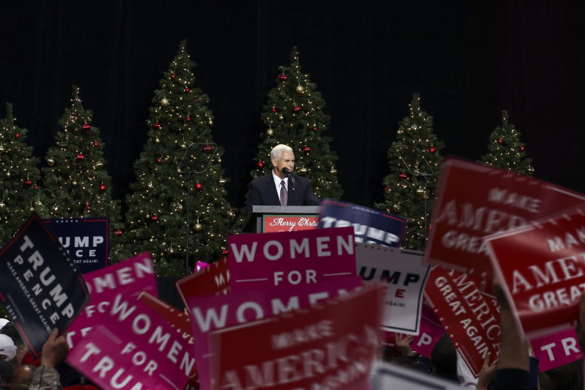 President-elect Donald Trump's running mate Mike Pence delivers a speech at the USA Thank You Tour 2016 at the Wisconsin State Fair Exposition Center in West Allis, Wisconsin, United States on December 13, 2016 [Bilgin S. Şaşmaz / Anadolu Agency]