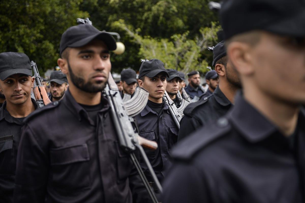 Palestinian security forces [Mustafa Hassona/Anadolu Agency]