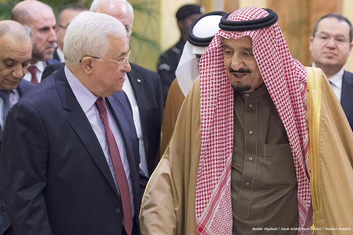 Palestinian President Mahmoud Abbas meets Saudi Arabia's King Salman bin Abdulaziz Al Saud on 21st December 2016 [Anadolu]
