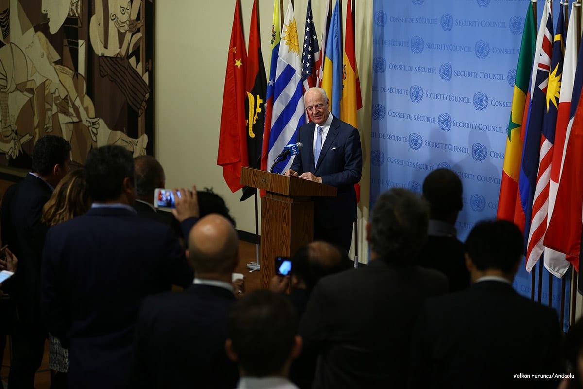 United Nations Special Envoy for Syria, Staffan de Mistura speaks during a press conference [Volkan Furuncu/Andaolu]