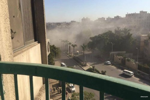 Image of smoke from the bomb blast in Cairo, Egypt on 9th December 2016 [almesryoon]