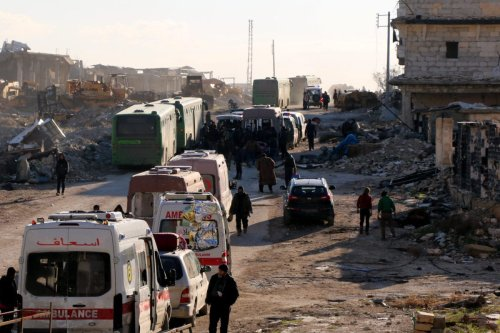 Civilians, trying to flee from East Aleppo wait to be evacuated at Amiriyah District of Aleppo Syria on 15 December 2016 [Mamun Ebu Ömer/Anadolu Agency]
