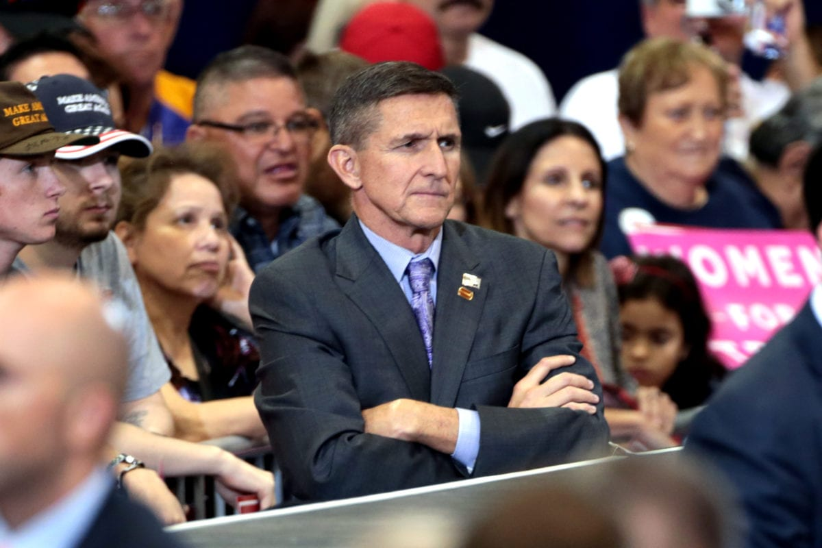 Image of Michael Flynn at a campaign rally for Donald Trump in Phoenix, Arizona [Gage Skidmore / Wikipedia]