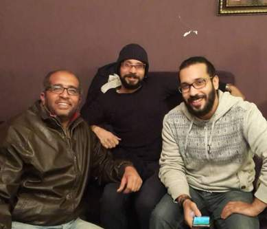 April 6 Movement co-founder Ahmed Maher (centre) after his release on 5 January 2017. [Twitter]