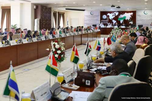 Image of the Organisation of Islamic Cooperation (OIC) meeting about Aleppo in Jeddah, Saudi [Turkish Foreign Ministry / Ahmet Gümüş/Anadolu]
