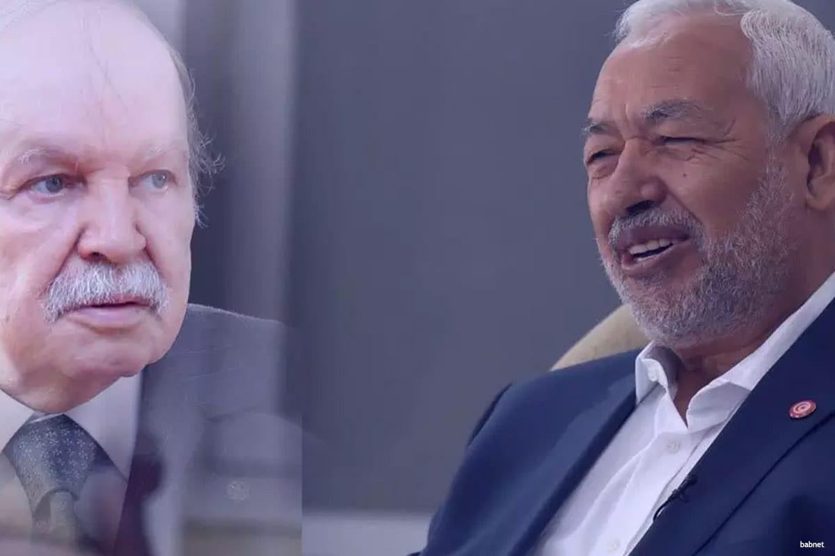 Image of Rachid Ghannouchi (L) and President Abdelaziz Bouteflika [babnet]