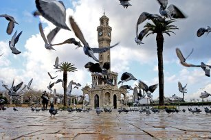IZMIR, TURKEY- When Mosques and Pigeons coexist