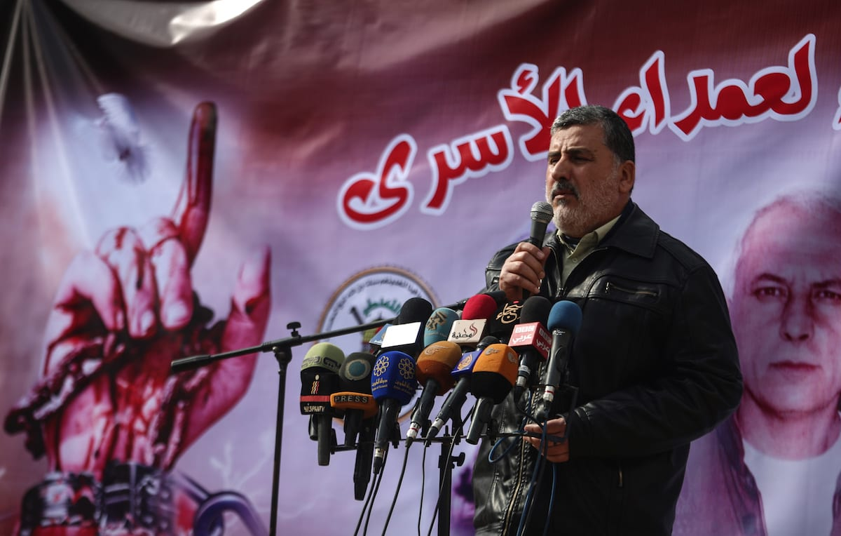 Islamic Jihad Movement leader Ahmad Al Mudallal addresses crowd in Gaza City, Gaza [Ali Jadallah/Anadolu Agency]