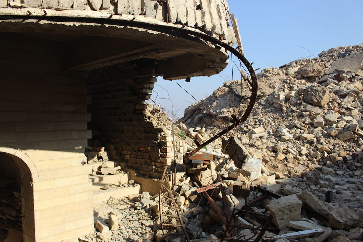 View of a damaged Mosque after it was rescued by the Iraqi Army from Daesh in Mosul, Iraq on January 19, 2017 [Cemal Bedrani/Anadolu Agency]Mosque after it was rescued from Daesh by the Iraqi Army in Mosul, Iraq on January 19, 2017 [Cemal Bedrani/Anadolu Age