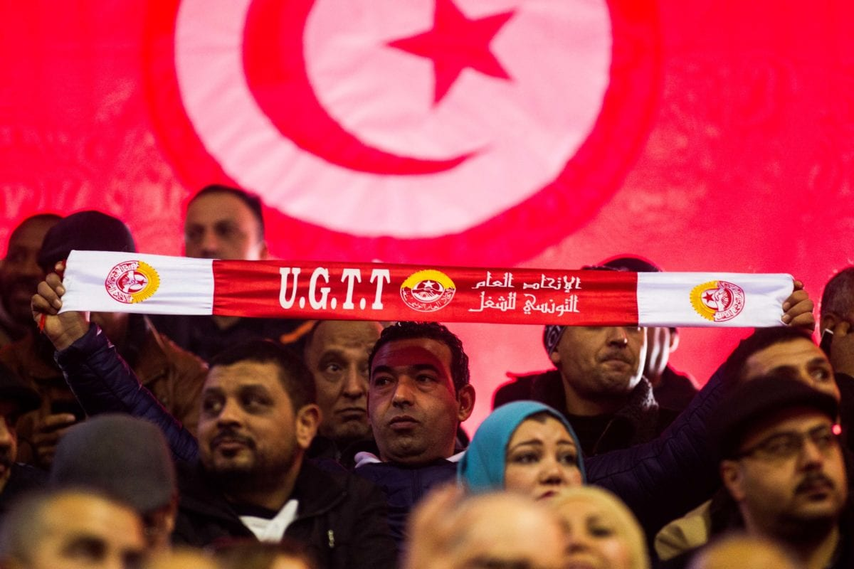 Union members and non-governmental organisation's delegates attend 23rd Congress Tunisian General Labour Union (UGTT) at El Menzah sports facility in Tunis, Tunisia on January 22, 2017. ( Amine Landoulsi - Anadolu Agency )