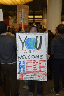 LOS ANGELES, UNITED STATES - JANUARY 28: Demonstrators rally against a ban on Muslim immigration at Los Angeles International Airport in Los Angeles, California, United States on January 28, 2017. According to lawyers more then 200 people detained including babies to elders from muslim countries. ( Aydin Palabiyikoglu - Anadolu Agency )