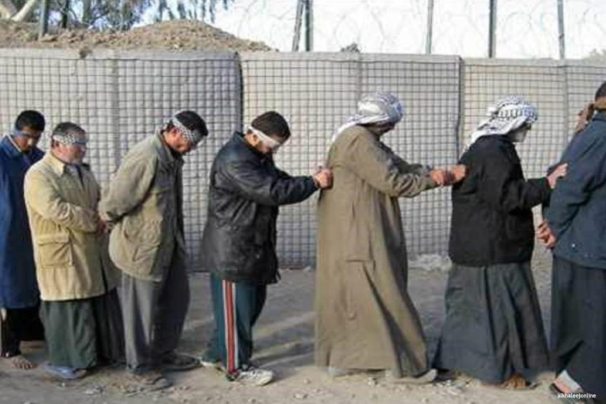 Image of prisoners blindfolded in Iraq [alkhaleejonline]