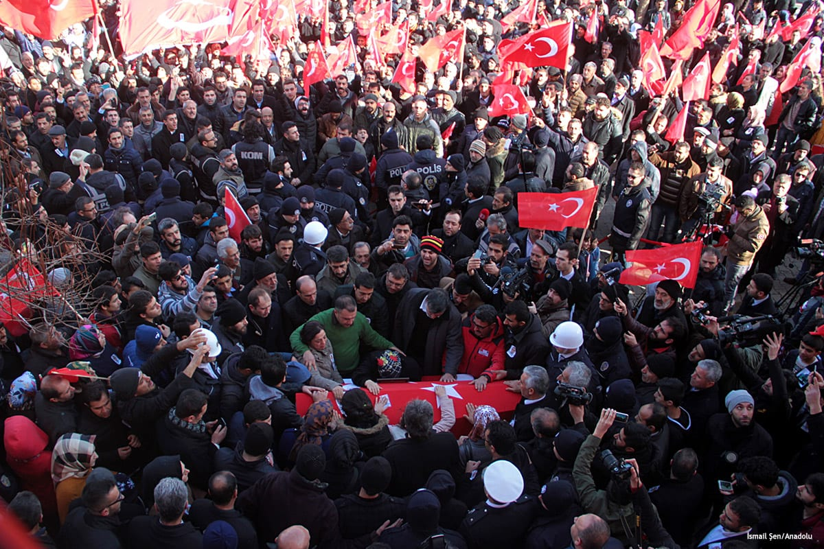 Funeral ceremony for the murdered police officer Fethi Sekin during a car bomb attack in Izmir, Turkey [İsmail Şen/Anadolu]