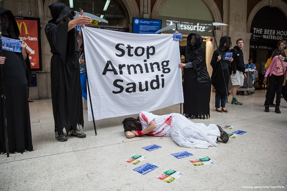 British human rights campaigners protest against arms sales to Saudi Arabia [Campaign Against Arms Trade/Flickr]