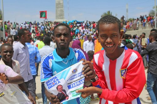 Supporters of Somalian new president Mohamed Abdullahi celebrate after the presidential elections of Somalia in Mogadishu, Somalia on February 09, 2017 [Sadak Mohamed - Anadolu Agency]