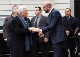 BRUSSELS, BELGIUM - FEBRUARY 9: Palestinian President Mahmoud Abbas (L) meets Belgian Prime Minister Charles Michel (R) in Brussels, Belgium on February 9, 2017. ( Palestinian Presidency - Handout - Anadolu Agency )
