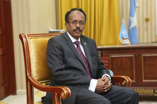 Somalia's President Mohamed Abdullahi Farmajo in Moghadishu, Somalia on February 16, 2017 [Sadak Mohamed/Anadolu]